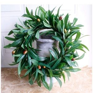"DSEAP NEW nearly real 17"" olive leaf wreath rustic"